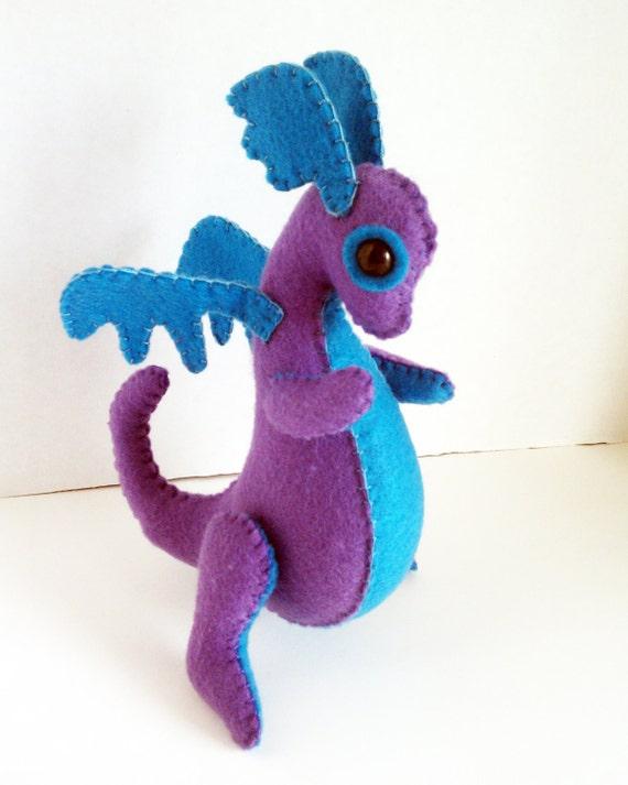 baby dragon felt plush stuffed animal firefly light purple