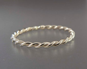 White Gold Twist Ring - Tiny 1.6mm Twist Ring in Solid 14k Gold
