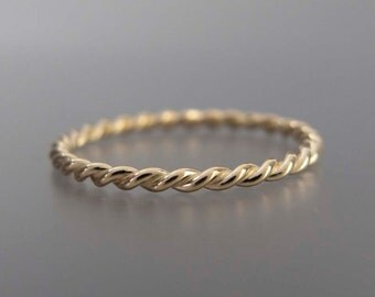 Yellow Gold Twist Ring - Tiny 1.6mm Twist Ring in Solid 14k Gold