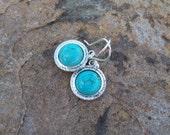 SALE - Turquoise Cabochon Drop Earrings - silver Boho earrings, Southwest style