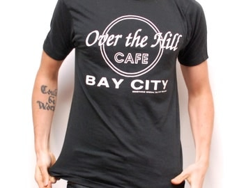 vintage dad hat shirt OVER THE HILL cafe 90s black beach t-shirt