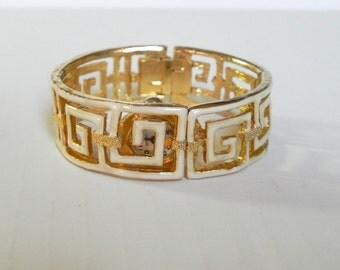 Vintage 60s Watch Gold Enamel Clamp Bracelet WATCH WORKS GREAT - on sale