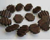 12 Vintage 1930s Wood Buttons - Brown WWII 1940s Beehive - Hand Carved 1 Dozen