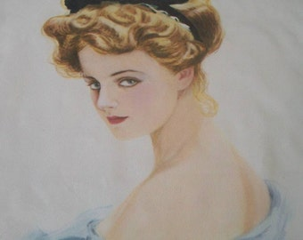 Sweet Sue Reproduction Lithograph by artist Earl Christy 1970s. New Hazel Pearson Handicrafts