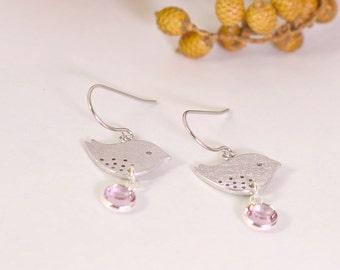 Little sparrow Dangle earrings, Drop Earrings , Silver plated earrings,  Light Amethyst Crystal, Bridal earrings, Wedding, Gift