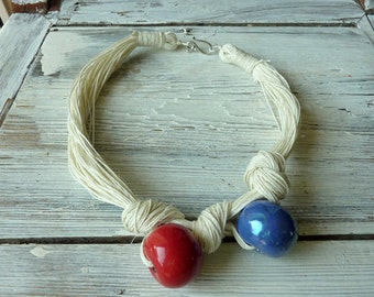 Jewerly Ivory Linen Necklace - Red and Blue Ceramic Beads
