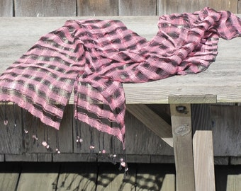 Spring Summer Fashion Scarf, Hand Woven Coral Pink Black Lacy Cotton Scarf, Evening Casual Urban Beach Cottage Cocktail Garden Party Scarf