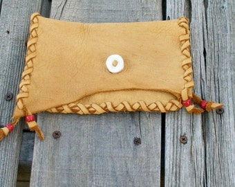 Soft leather clutch ,   Mountain man bag , Medicine bag , Phone case
