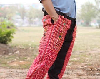 Black 100 percent hemp pants with full batik/embroidery for Men