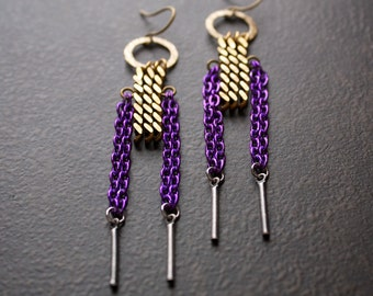 Antique Brass Curb Chain Dangle Earrings with Purple Chain and Silver Bar Dangles