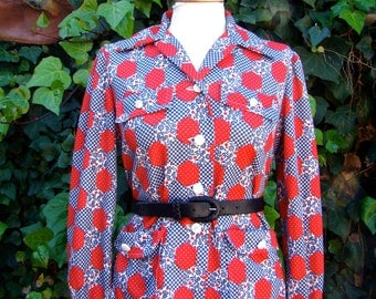 Vintage 60s / Red / White / Blue / Heart / Patchwork Print / Long Sleeve / Shirt / MEDIUM / LARGE