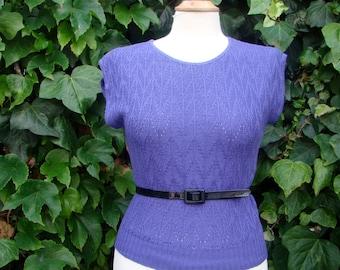 Vintage / New Wave / 80s / Etretat / Purple / Sweater Vest / SMALL