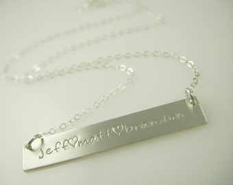 Classic Three Name Bar - Gold or Silver Bar Necklace - Engraved Necklace