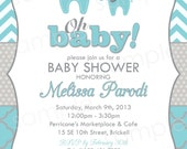 Animal Chevron Print Baby Shower Invite -  DIY Digital, Printable Party INVITATION - 4x6 or 5x7 - Baby Elephant - Aqua and Grey