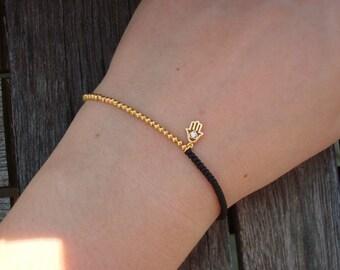 Stretchy Black and Gold Bracelet - Mint Green Gold Hamsa Charm Bracelet -  Choose Your Color