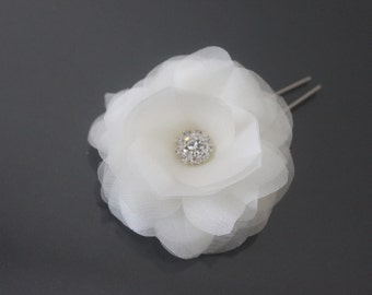 Bridal Hair Flower with Rhinestone Center, White, Off White, Ivory, Blush Pink, Champagne-Style No.534