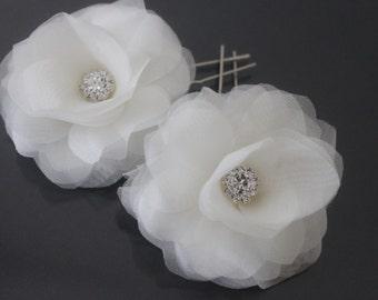 Silk Organza Flower Hair Pins-Style No.538-Set of 2