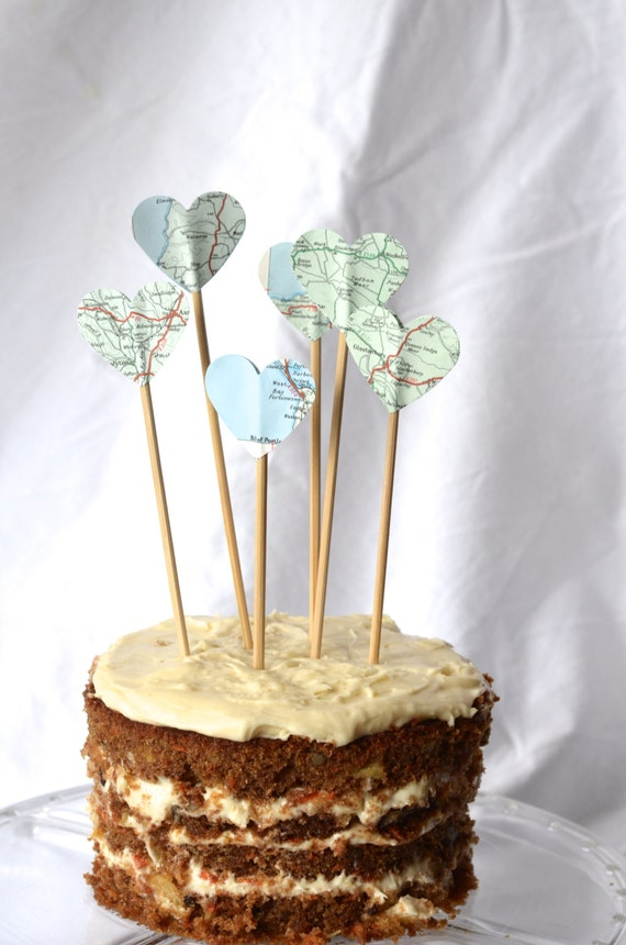 Vintage Map Pie Topper, heart shaped cake and dessert topper