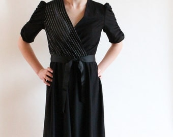 70s dress - sheer pinstripe disco party dress