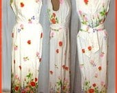 Vintage 70s - Cotton brocade Hawaiian sleeveless summer dress w/ assorted belt
