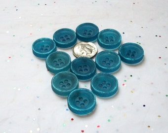 11  Blue Buttons, Denim Blue, FROSTED Deep Face Buttons, Crafting Jewelry (M 5)