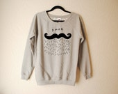 Mens Amor moustache hand printed sweater by Emilythepemily.