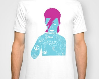 David Bowie Blue UNISEX T-shirt hand printed by Emilythepemily.
