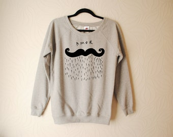Amour beard moustache amor hand printed sweater by Emilythepemily.