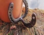 Salvaged Horse Shoes, Welded Metal, Steel Coat Hook Hanger