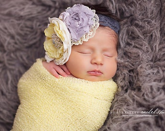Dream A Little Dream- grey and yellow lace ruffle and rosette headband