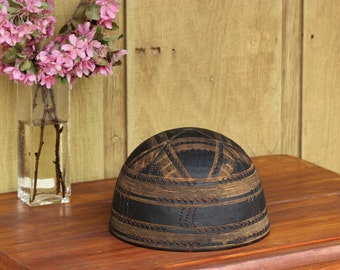 African Milk Bowl -  from the Tuareg People of the Sahara - Decorated Wooden Bowl