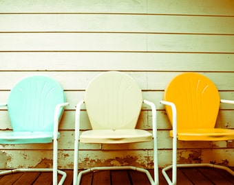 Fine Art Photography, Vintage Patio Chairs, Still Life, Wall Art, Summer Photo, Mid Century Chairs, Whimsical 8x10 Print, Shabby Chic Decor