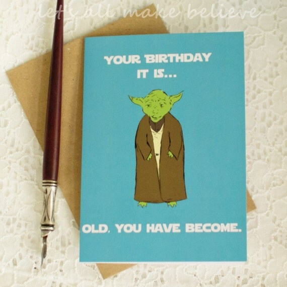 Items Similar To Old Wise Green Alien Card Nerd Birthday