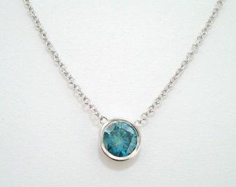 950 Platinum 0.50 Carat Blue Diamond By The Yard Solitaire Pendant Necklace Handmade