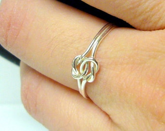 Double love knot ring infinity knot ring Sterling silver knot ring tie the knot ring celtic knot sterling silver ring