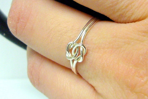 Double Love Knot Ring Infinity Knot Ring Sterling Silver Knot