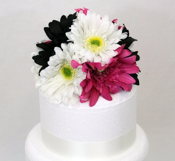 Wedding Cake Topper - Black, Fuchsia and White Gerbera Daisy