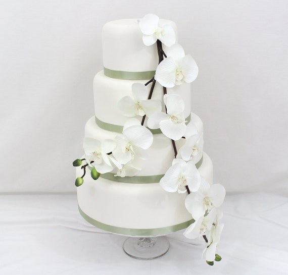 Wedding Cake Topper White Orchid Silk Flower Wedding Cake