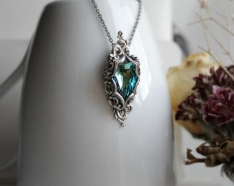 Lady of the Ocean Aged Silver & Swarovski Necklace - Blue - Aqua - Victorian - Fantasy - Summer - July - Unique - Wedding - Bridal