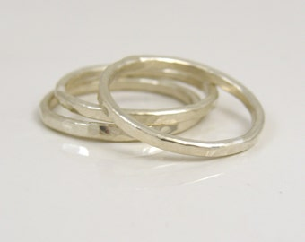 Fine silver hammered stacking rings set of 3, polished or oxidized finish