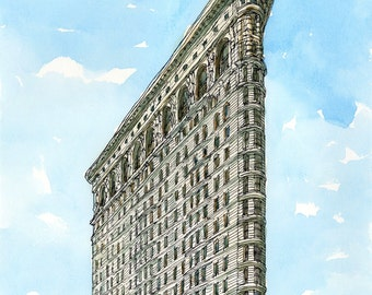 NEW YORK FLATIRON Building art print from an original watercolor painting