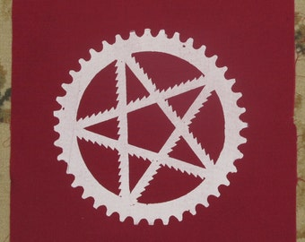 Back Patch - Pentagram, of Bike Parts, w Saw Blades and Bike Sprocket - Large, Back, Bag, White on Cherry Red Fabric, occult patch, pagan