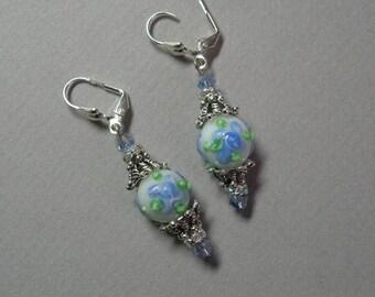 Blue Flower Lampworked Earrings