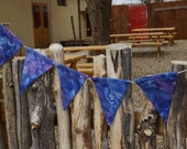 Hand Dyed Fabric Flag Banner Blue and Purple Sky Bunting  Party Pennants by InYourBones
