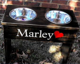"""Large Dog food Bowl Stand personalized 18"""" Tall -  Two 3 quart bowls Distressed"""