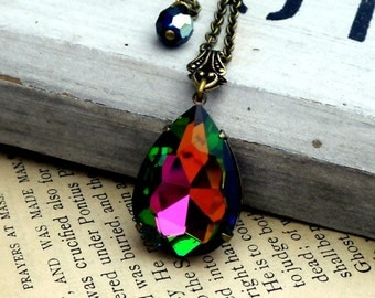 Pretty Peacock Drop, Old Hollywood Vintage Glam Wild Vitrail Glass Teardrop Rhinestone Necklace
