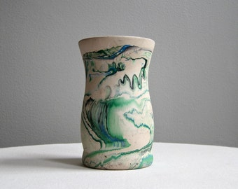 Vintage Nemadji Pottery Vase - Marbelized Green Swirl Souvenir Ceramic - Made in Minnesota Tourist