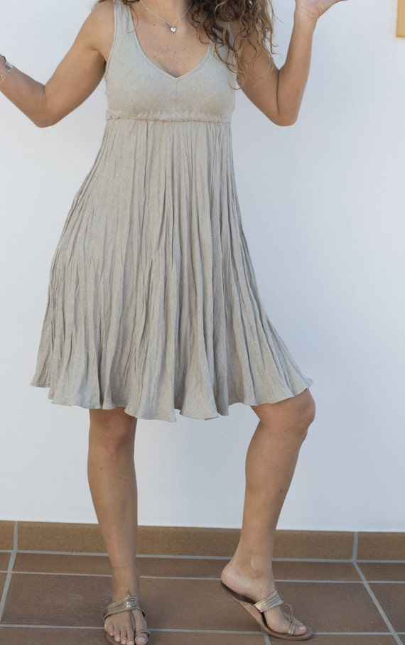 Short Summer Linen Dress in Natural Sand