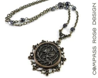 Victorian Jewelry, Victorian Button Necklace - Nouveau Flower Antique Steel Cut Button Necklace - Downton Abbey Style