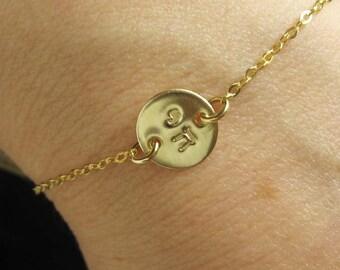 Personalised Gold Disc Bracelet CHAI Bracelet Gold Bracelet Gold CHAI Sideways Disc Evil Eye Gold Hamsa Jewery Star of David Gold Disk